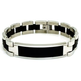 Stainless Steel Black Rubber Identification Bracelet - 8.5 inches