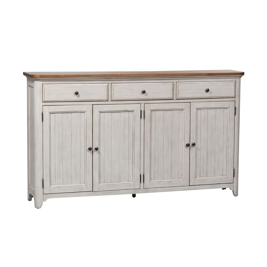 French farmhouse style distressed white sideboard