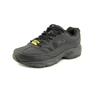 Fila Memory Workshift Men 4E Round Toe Leather Black Work Shoe