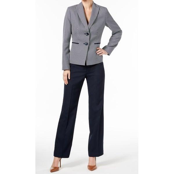 Shop Le Suit Navy Blue White Womens Size 12 Tweed Two Button Pant