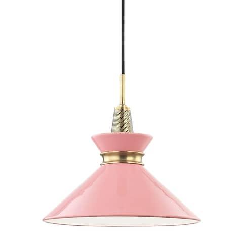 Mitzi by Hudson Valley Kiki 1-light Aged Brass Small Pendant, Pink Metal