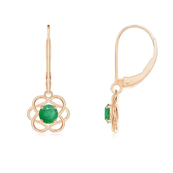 Angara Round Emerald Leverback Halo Dangle Earrings aHJcWz