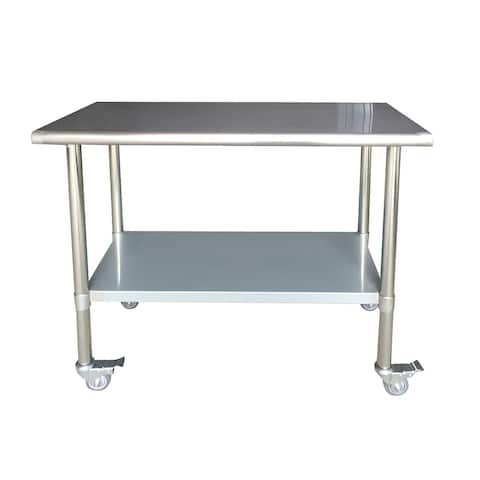 """Offex Series Stainless Steel Work Table with Casters 24"""" x 48"""""""