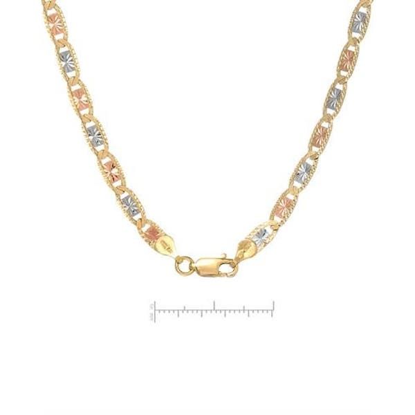 Mcs Jewelry Inc 14 Karat Three Tone Yellow Gold White Gold Rose Gold Large Valentino Necklace 3 5mm Overstock 11735253