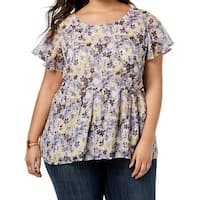 Lucky Brand Purple Womens Size 3X Plus Floral Flutter Sleeve Blouse