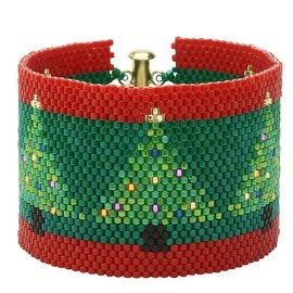 Peyote Bracelet-Christmas Trees on Green - Exclusive Beadaholique Jewelry Kit