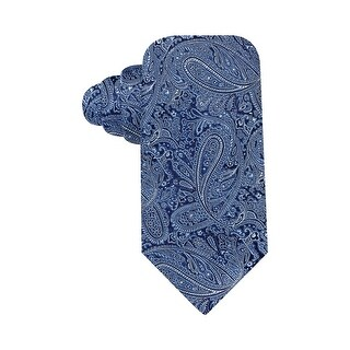 Countess Mara Hand Made Augstin Tonal Paisley Classic Silk Tie Dark Blue - One Size Fits most