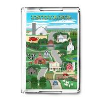 Indiana Retro Countryside - Lantern Press Artwork (Acrylic Serving Tray)