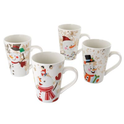 Gibson Home Holiday Snowman 4 Piece 17 Ounce Fine Ceramic Cup Set with Assorted Designs