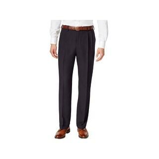 Haggar Mens Dress Pants Pleated Classic Fit