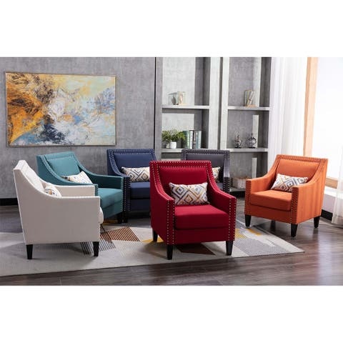 Accent Armchair Living Room Chair with Nailheads and Solid Wood Legs