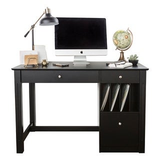 Offex Home Office Deluxe Wood Storage Computer Desk - Black