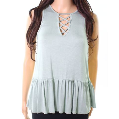 Moa Moa Green Size XS Junior's Peplum Hem Lace Up Cami Knit Top