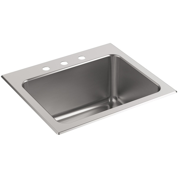"""Kohler K-5798-3 Stainless Steel Ballad 25"""" Single Basin Drop In Stainless Steel Utility Sink with 3 Faucet Holes and"""