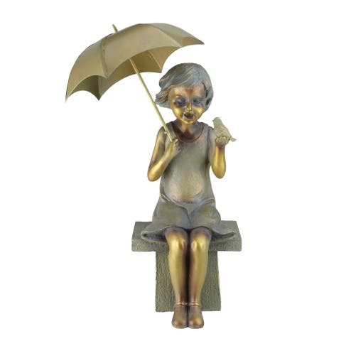 """17.5"""" Young Garden Girl Sitting While Holding an Umbrella and Bird Statue"""