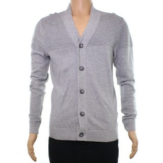 Alfani Heather Mens Large Ribbed Cardigan Sweater