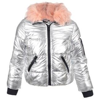 Urban Republic Little Girls Silver Detachable Faux Fur Collar Puffer Coat