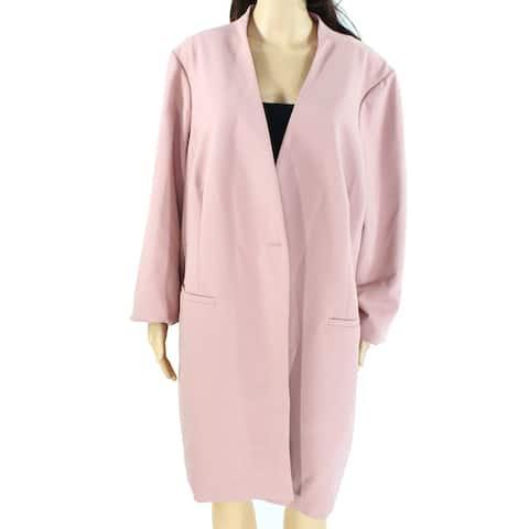 Alfani Womens Jacket Pottery Pink Size 28W Plus Collar-Less One-Button