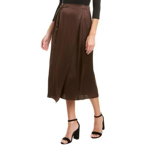 Vince Knot Paneled Silk Midi Skirt