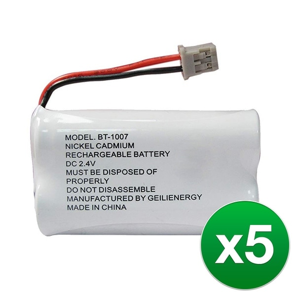 Replacement Battery For Uniden DECT1480 Cordless Phones - BT1007 (600mAh, 2.4V, Ni-MH) - 5 Pack
