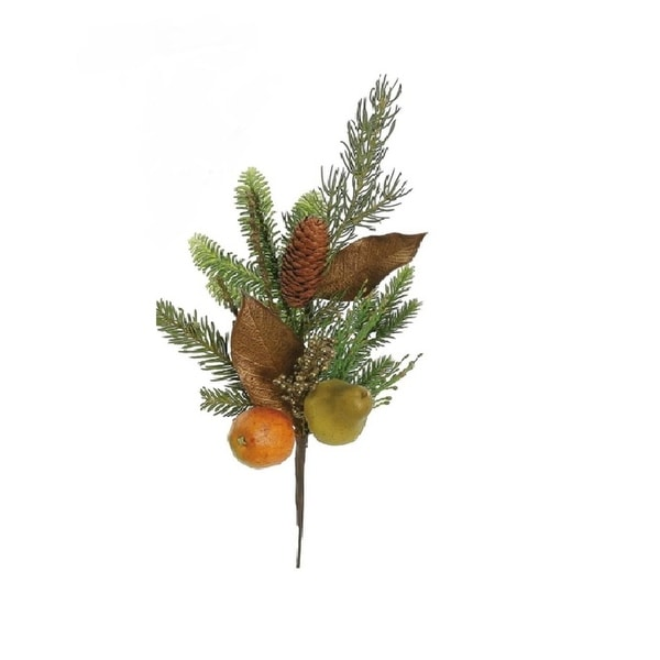 "19"" Autumn Harvest Asheville Fruit Pine and Pear Artificial Thanksgiving Spray"