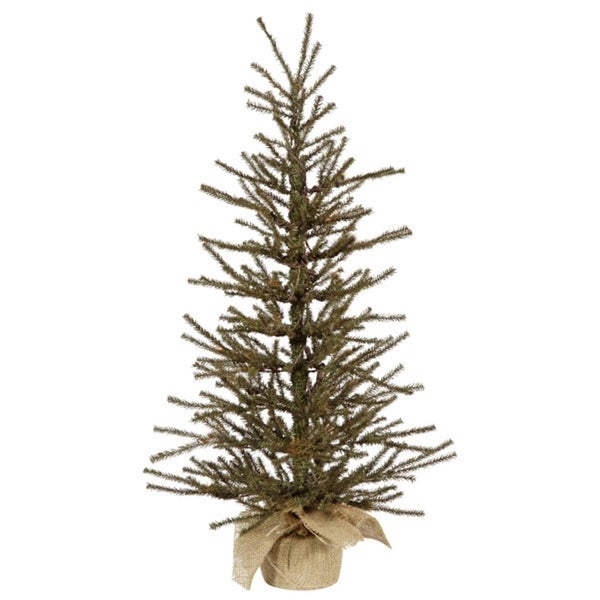 "3' x 18"" Vienna Twig Artificial Christmas Tree in Burlap Base - Unlit - green"