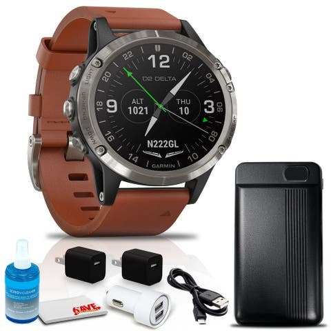 Garmin D2 Delta Aviator Watch (47mm, Brown Leather) + Power Bank and