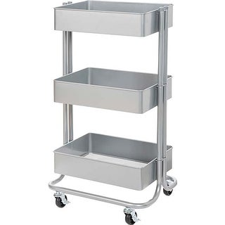 Grey - 3-Tier Metal Rolling Cart