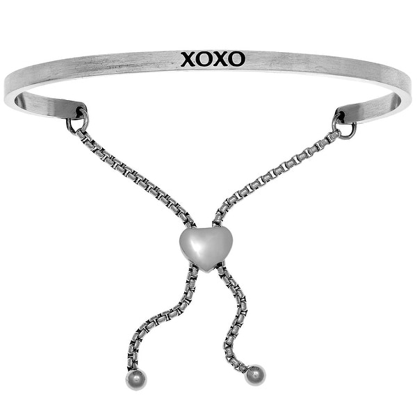 """Intuitions """"xoxo"""" Stainless Steel Adjustable Bolo Bracelet"""
