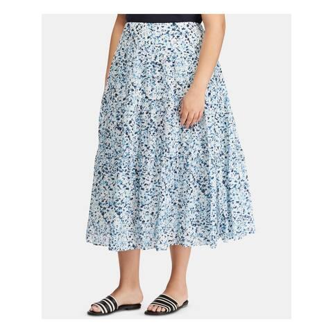 RALPH LAUREN Womens Aqua Floral Midi Accordion Pleat Skirt Size 20W