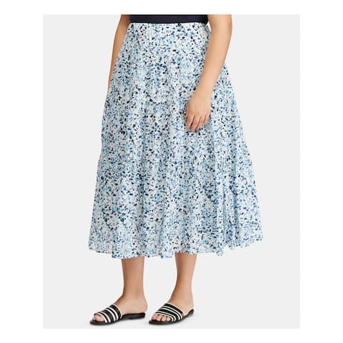 RALPH LAUREN Womens White Floral Midi Accordion Pleat Skirt Size 20W