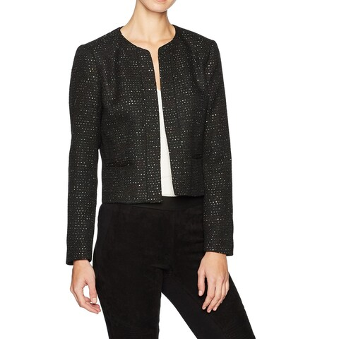Nine West Black Womens Size 14 Open Front Sequin Tweed Jacket