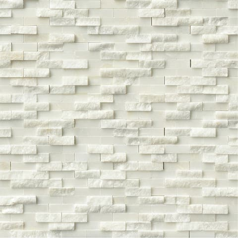 "MSI SMOT-ARA-SFIL10MM Arabescato Carrara - 12"" x 12"" Cladding Mosaic Sheet - Honed Marble Visual - Sold by Carton (10 - White"