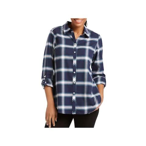 Foxcroft Womens Blouse Plaid Long Sleeves - 12
