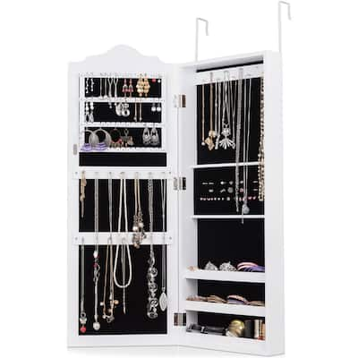 Wall Mounted Jewelry Cabinet Mirrored Storage Organizer Home Décor