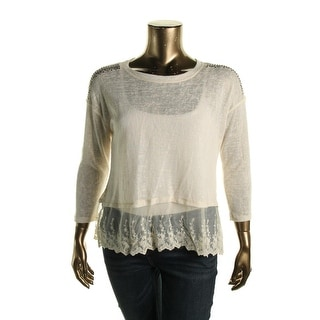 Eye Shadow Womens Juniors Sheer Embellished Pullover Sweater