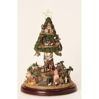 "13"" Vibrantly Colored Inspirational LED Lighted Musical Nativity Tree Christmas Decor - green"