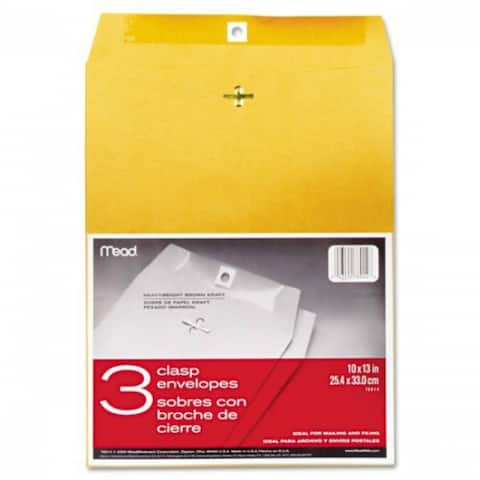 "Mead 76014 Clasp Envelopes, 10"" x 13"", 3-Pack"