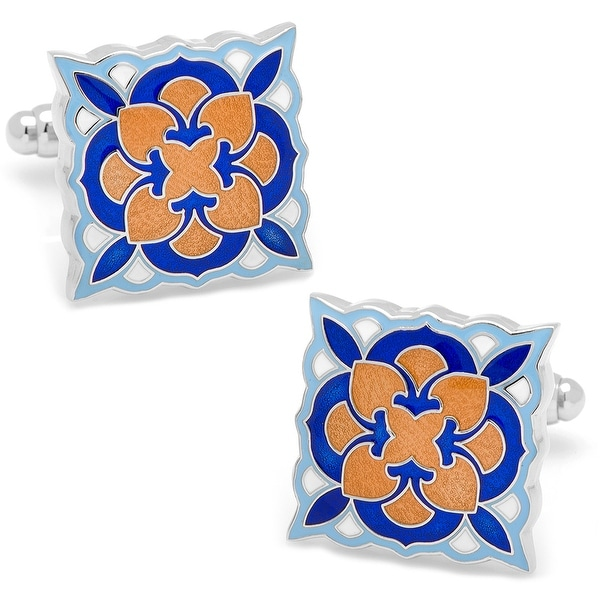 Orange and Blue Deco Bloom Cufflinks