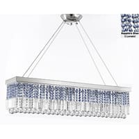 """10 Light 40"""" Contemporary Crystal Chandelier Rectangular Chandeliers Lighting -Trimmed with Sapphire Blue Crystal"""