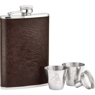 Legendary Whitetails Crosshairs Leather Flask Set - Brown