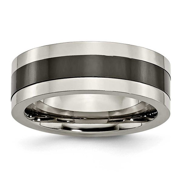 Chisel Titanium Base with Polished Black Ceramic Center Flat 8mm Band