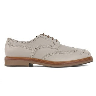 Brunello Cucinelli Mens Grey Leather Wing Tipped Oxford Shoes