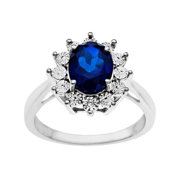 2 5/8 ct Sapphire Ring with Diamond in Sterling Silver - Blue