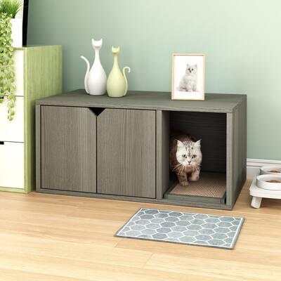 Way Basics Eco Cat Litter Box Enclosure Modern Cat Furniture, Grey