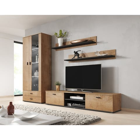 Soho 8 Modern Wall Unit Entertainment Center with LED Lights