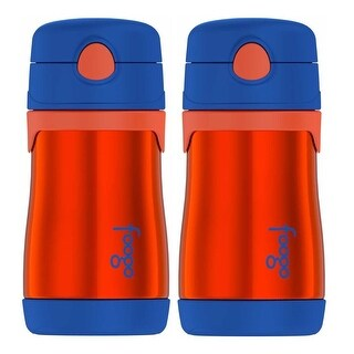 Thermos Foogo Vacuum Insulated 10 oz Straw Bottle (Orange/Blue, 2-Pack)