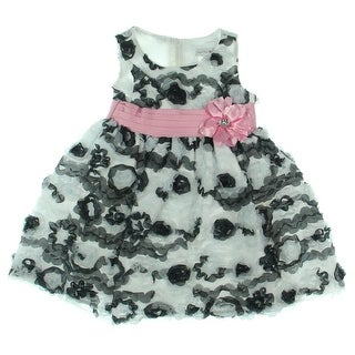 Sweet Heart Rose Toddler Applique Special Occasion Dress - 2T