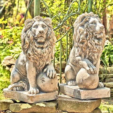 """27"""" Tall Set of 2 Magnesium Lions """"Marloni & Antonio"""""""
