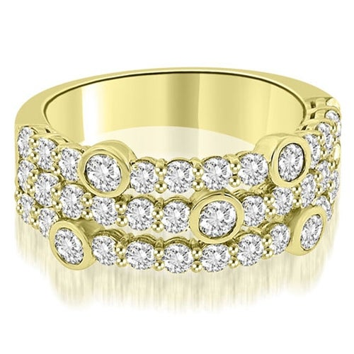2.20 cttw. 14K Yellow Gold Three-Row Round Cut Diamond Wedding Ring